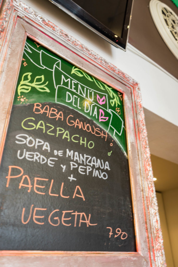 Menu del dia, Santoni vegan cafe, Barcelona