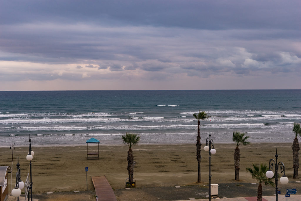 Finikoudes Beach in the winter, Larnaca, Cyprus