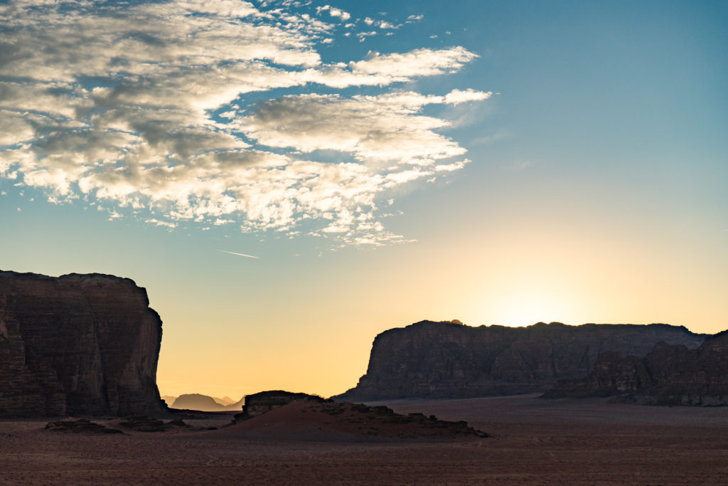 Sunset in the Wadi Rum desert, Jordan