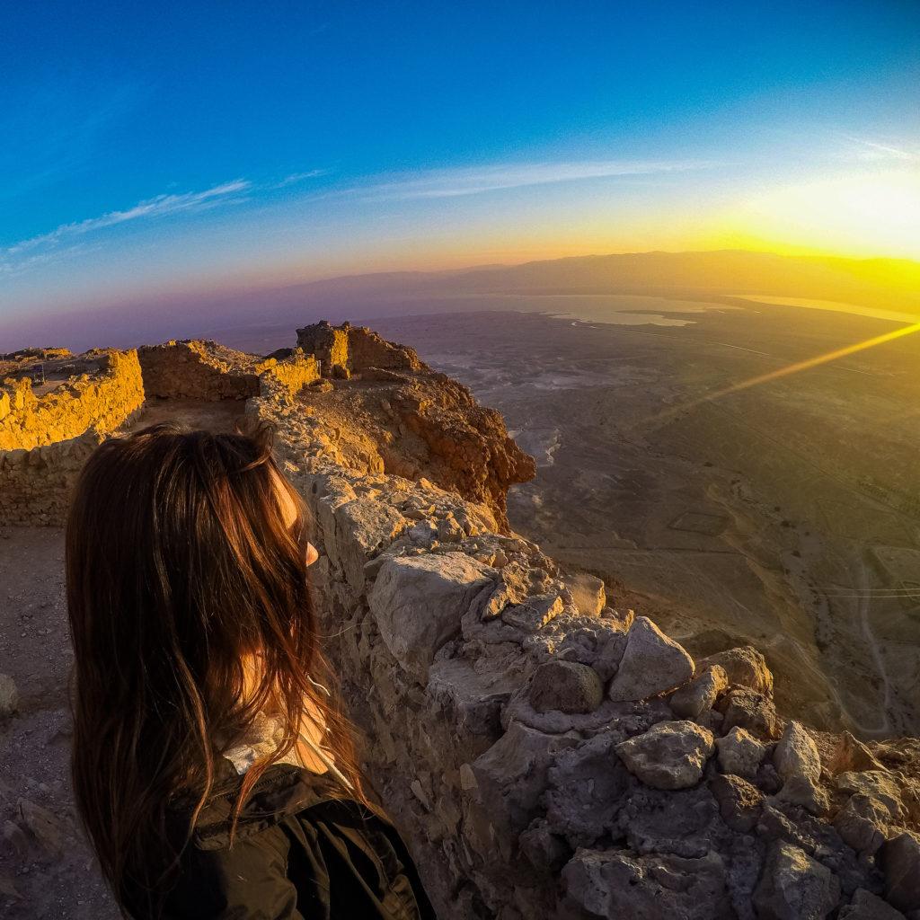 Watching the sunrise at Masada, Israel
