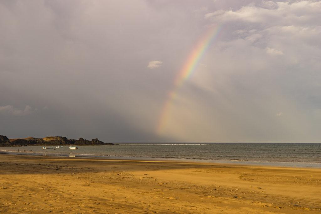 Rainbow at the beach in Comoros