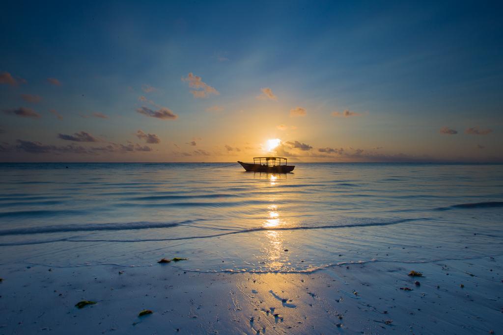 A sunset on a beach, Zanzibar, Tanzania