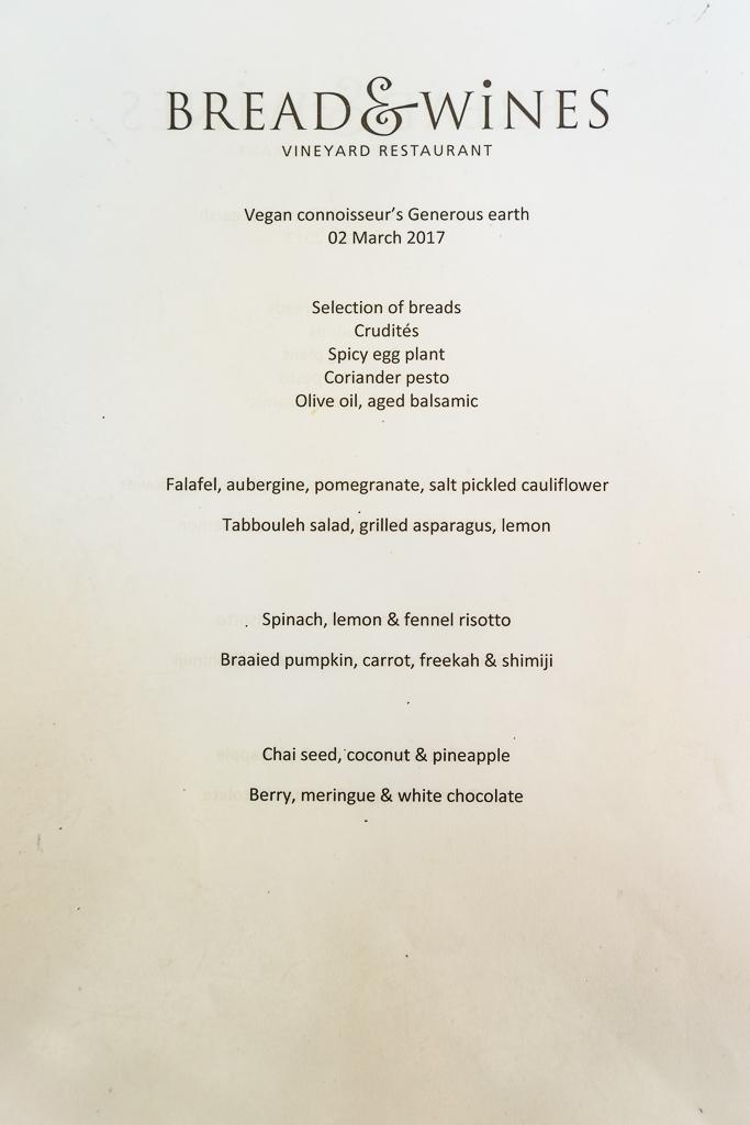 Vegan menu at Bread & Wine Vineyard Restaurant, Franschhoek