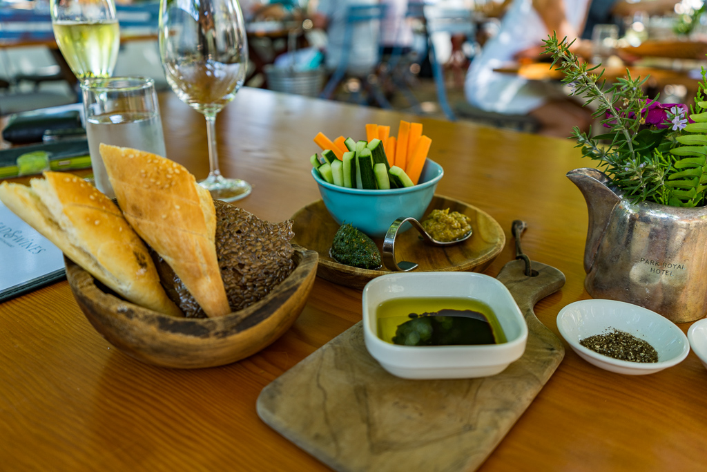 Vegan food at at Bread & Wine Vineyard Restaurant, Franschhoek
