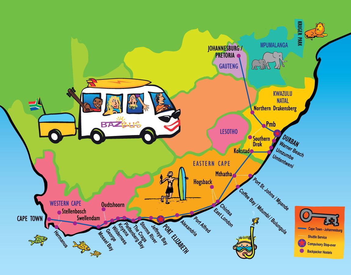 Baz Bus Route Map