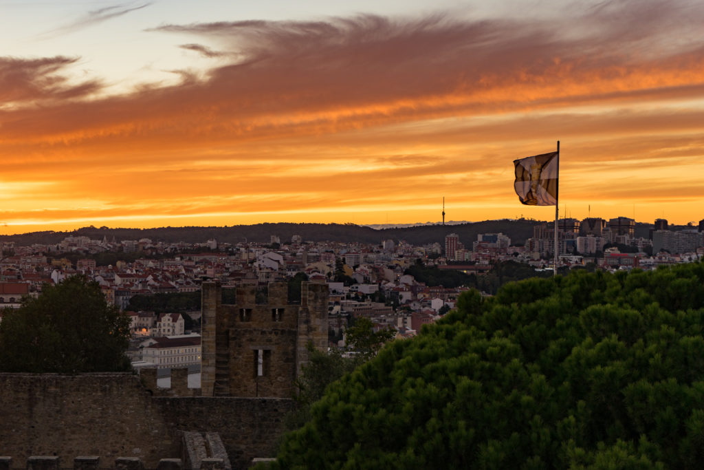 The view from São Jorge Castle at sunset