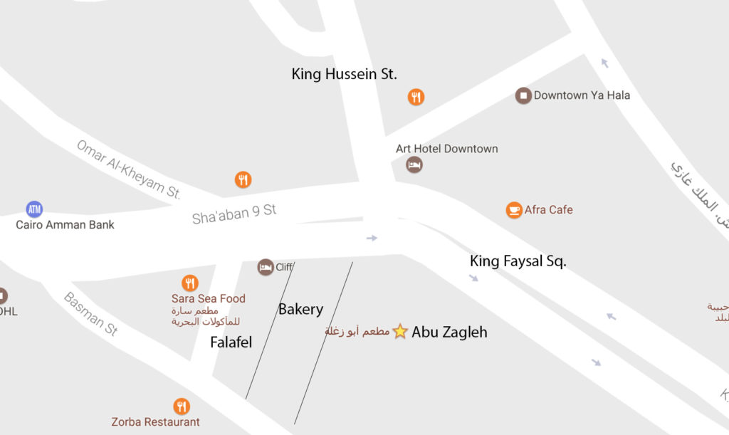 Amman Map, where to eat