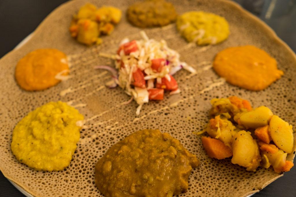 Injera plate, Tenat vegan Ethiopian restaurant, Tel Aviv