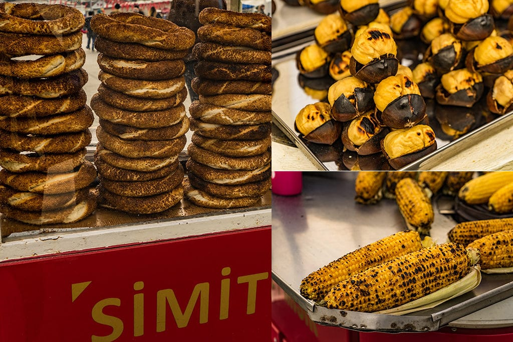 Streetfood in Turkey: Simit, Corn, Chestnuts