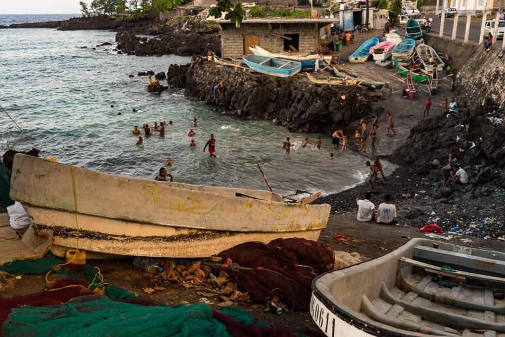 Kids swimming in Moroni, Comoros