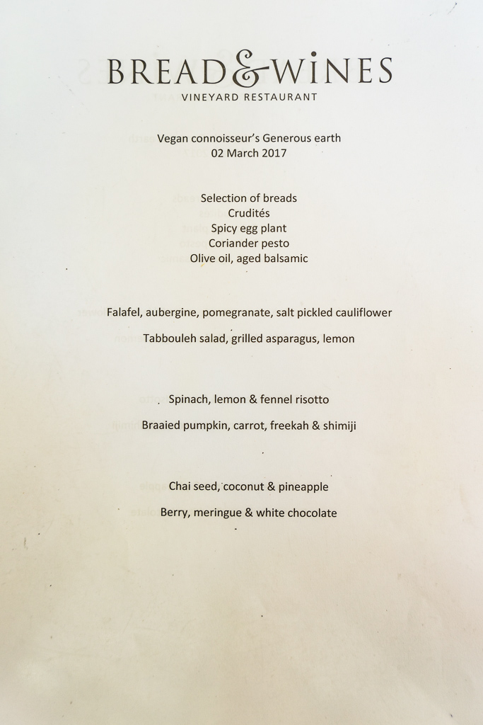 Vegan menu at Bread & Wine Vineyard Restaurant, Franschhoek