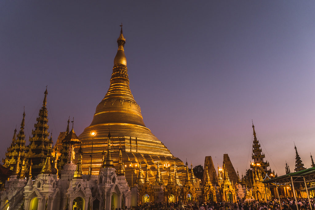 Sunset at The Shwedagon Pagoda, Yangon, Myanmar