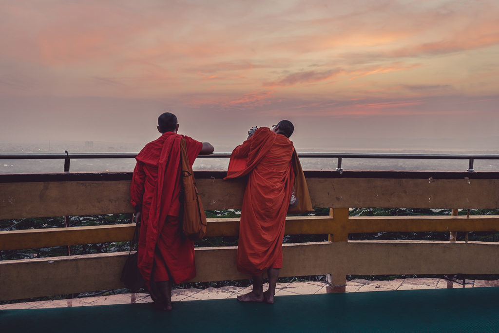 Watching the sunset from Mandalay Hill, Myanmar