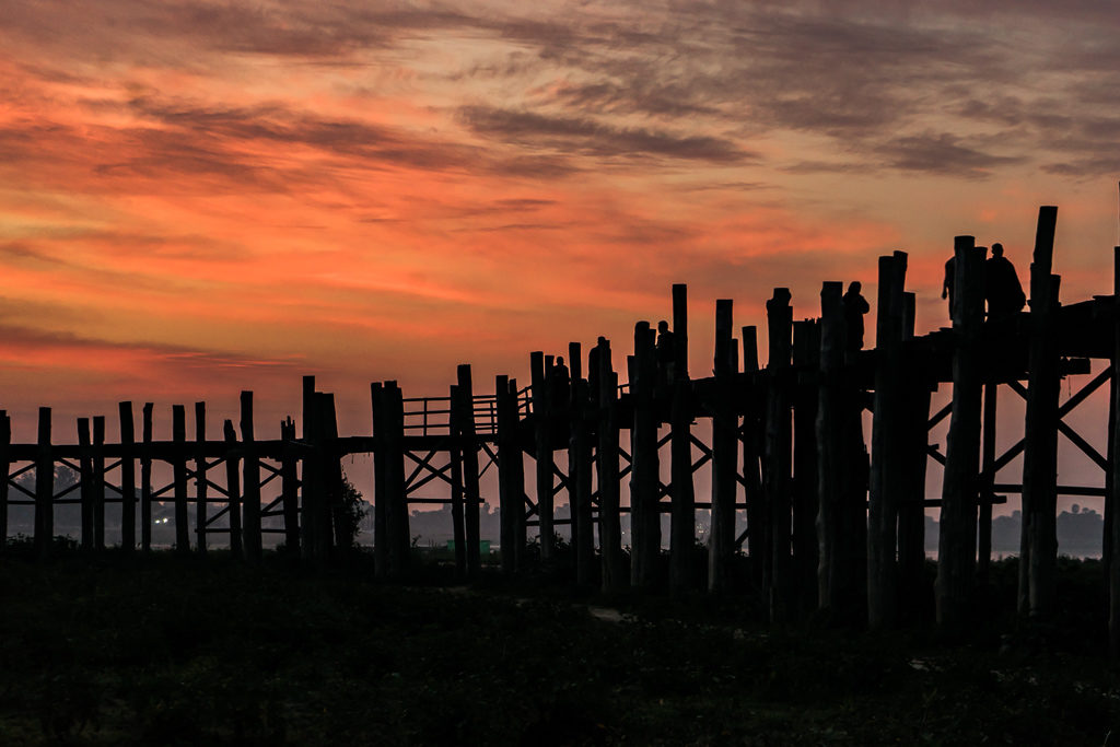 Sunrise at U Bein Bridge, Mandalay, Myanmar