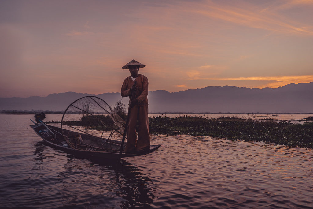 Watching the sunrise at Inle Lake, Myanmar