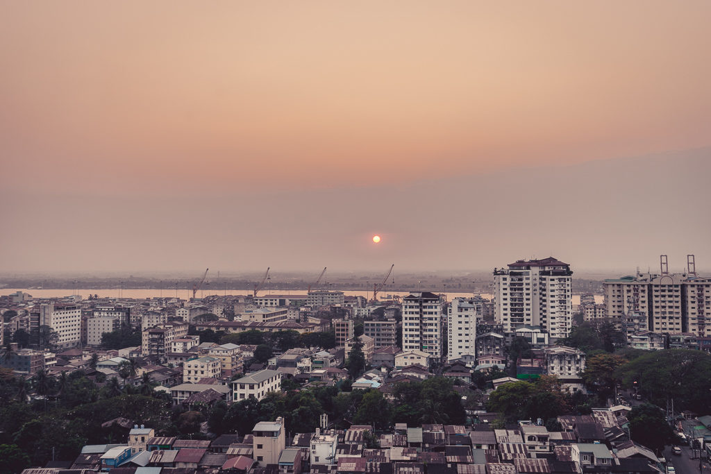 Sunset view from Atlas Rooftop Bar & Lounge, Yangon, Myanmar