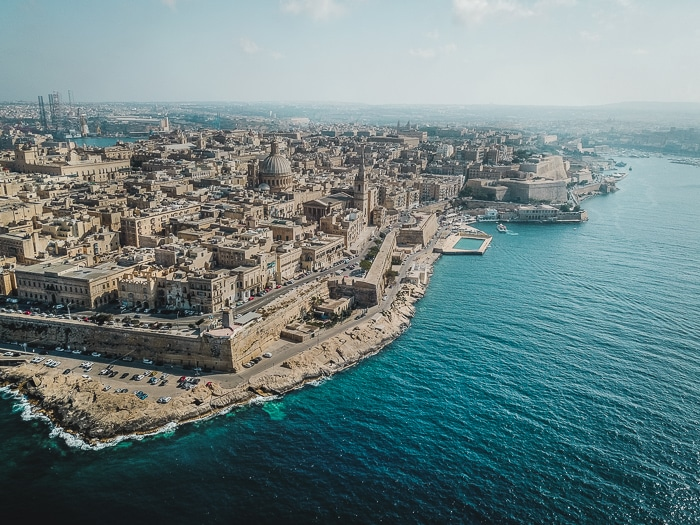 Valletta from above, drone picture, Malta